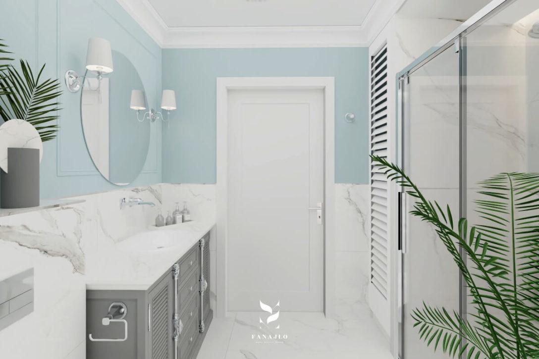 łazienka W Stylu Hamptons W Błękicie Katarzyna Fanajło
