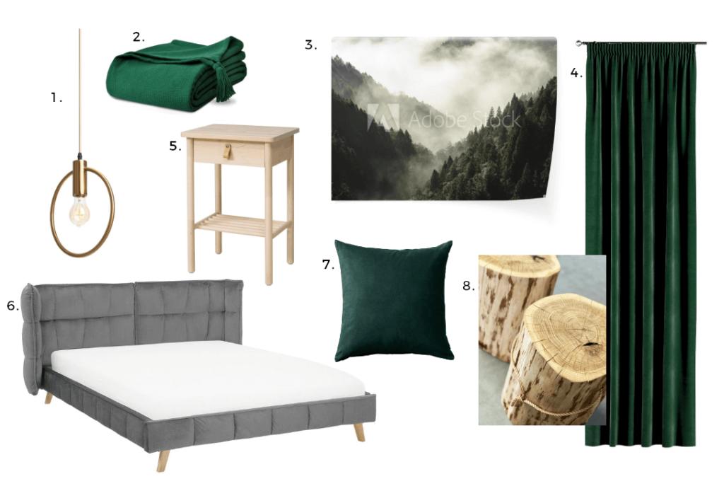 Sypialnia w leśnym klimacie